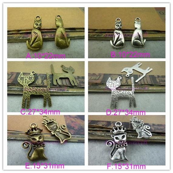 30PCS Antique Silver / Antique Bronze Lovey cat  Charm Pendant  Charm Pendant  Necklace Jewelry pendants,Bracelets Fittings
