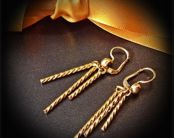 18ct. Gold Earrings, approx.7.2g. Yellow Gold Barley Sugar Twist Earrings, Lovely Gift, For someone special, SHORT SALE Window