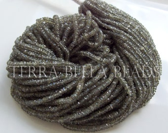 "8"" strand AAA olive brown SAPPHIRE faceted rondelle beads 2mm - 3mm green"