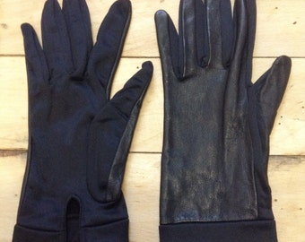 French 1950s Woman Driving Gloves - Black Calfskin Leather & Nylon - New - XS/S - 6