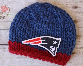 Patriots Knit Sports Beanie, Newborn Photography Prop, New England Patriots Newborn Sports Team Hat in Blue and Red
