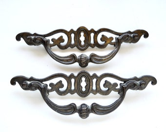 Pair Large Antiqued Brass Victorian Drawer Pulls
