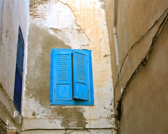 Moroccan photography - 4x6 photo print - blue window shutters - North Africa - travel photography