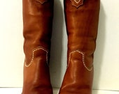 Tan Zodiac Cowgirl Boots with Lace Trim size 6 1/2M