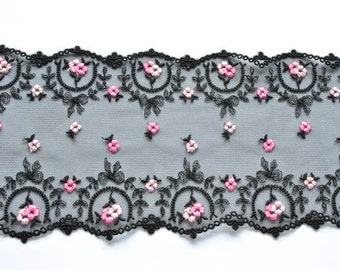 Black And Pink Lace, Miniature Black Lace Trim, Pink Rose Lace, Double Edged Black Lace, Dolls, Dolls House, Lingerie