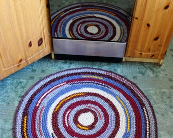 Happy Rug, READY TO SHIP, 34'' in diameter, Beautiful Crochet Round rug in some bright tones