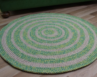 36'' in diameter, ready to ship, hand crochet green striped rug