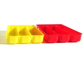 Yellow Lustro Ware Flatware Organizer Burroughs Mfg Corp Burrite 331 Red Plastic Silverware Tray (as-is)