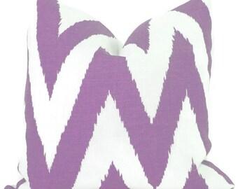 Quadrille Tashkent Lavender on White, Ikat Chevron Pillow Cover Square, Eurosham or Lumbar pillow, Accent Pillow, Throw Pillow, Toss