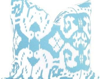 Quadrille Light Blue Island Ikat Pillow Cover 18x18, 20x20 , 22x22, Eurosham or Lumbar pillow Accent Pillow, Throw Pillow, Toss Pillow