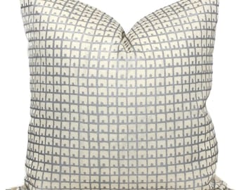 China Seas Fez Silver on Tint Pillow Cover, Quadrille Square, Eurosham or Lumbar pillow Accent Pillow, Throw Pillow, Toss Pillow