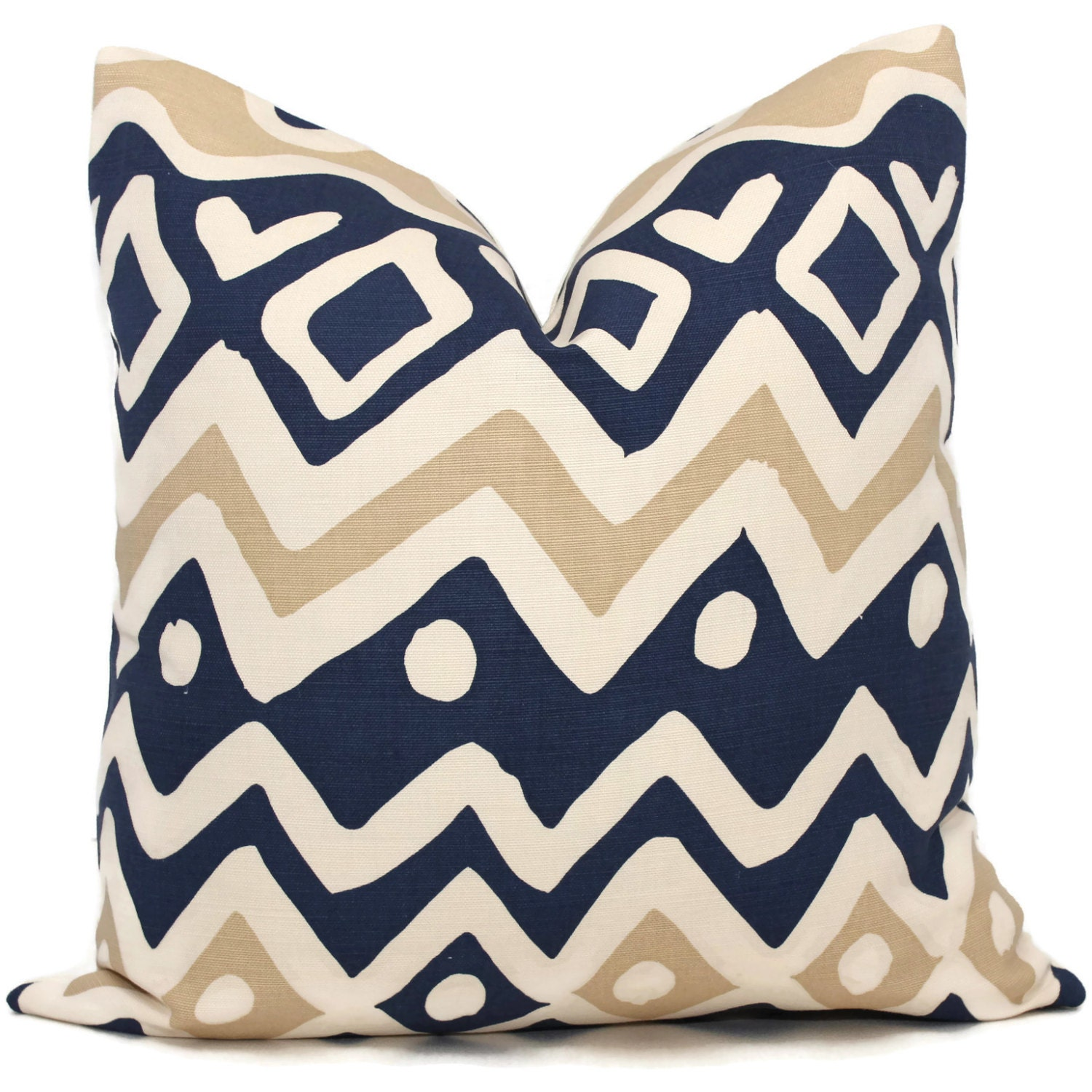 Queen Throw Pillows : Quadrille Pillow Cover Navy and Tan Cap Ferrat Pillow Cover