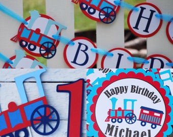 Choo Choo Train Red and Blue Birthday Party Package