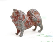 Iron Cast Dog Keeshond - Antique Lead Toy - Chow dog - Made in England