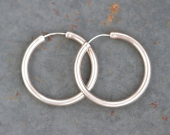 Sterling Silver Hoop Earrings - 1.2 inches