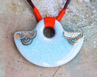 Turquoise Boho Necklace - Ceramic Pendant - Oriental Design
