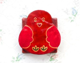 Little red Bird Wallet - Square Leather Coin Purse
