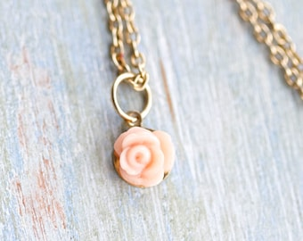 Tiny Salmon Flower Necklace - Pendant on Golden Chain
