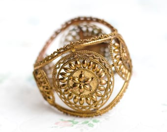Wide Brass Cuff Bracelet - Boho filigree Bracelet