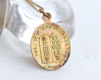 The Ten Commandments Antique Medallion Necklace - With Lord's Prayer