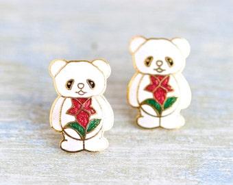 little Pandas Earrings - Cloisonne Enamel Stud Earrings