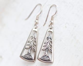 Dark Silver Trees - Sterling Silver Vintage Dangle Earrings