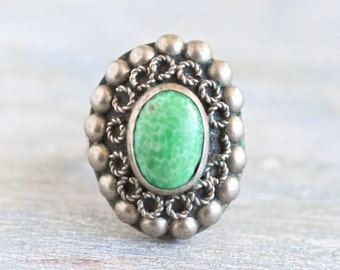 Turquoise Boho Ring - Adjustable size 6 - Alpacca Hippie Ring