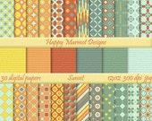 Patterned Paper Digital Scrapbooking Backgrounds Printable - 30 designs - 12x12 - 300 dpi - jpg - SUNSET