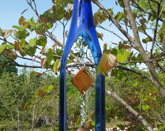Blue Wine Bottle Wind Chime