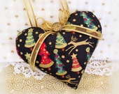 "Christmas Heart Christmas Ornament 5"" Black w/ Trees Heart Pillow Door Hanger Christmas Ornament Handmade CharlotteStyle Decorative Folk Art"