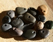 Alaskan Beach Stone Beads, Set of 14 Various Color Stones, Beach Combed Stones, Found in Alaska, Top/Center-Drilled for Jewelry Supplies