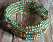 Memory Wire Bracelet in Mint and Gold E Beads- Mint Julep