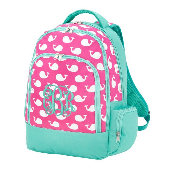 Personalized Kids Backpacks in Whales print LARGE size