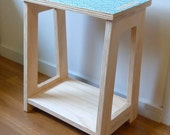 Objectify Blue Waves Print Scandi Stool or Side Table