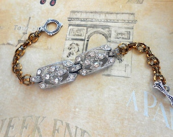 Vintage Rhinestone Assemblage Bracelet, Silver and Gold, Art Deco, Paste, Book Chain, Repurposed Vintage, Upcycled, Recycled, One of a Kind