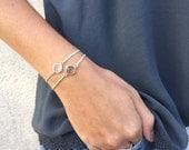 KYLIE - Glass Braided Bracelet / Glass Bezel / Gold Filled Boho jewelry / Stackable bracelets