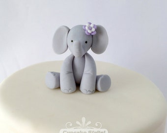 "Flower wearing Elephant cake topper, 2"" tall by Cupcake Stylist on Etsy"