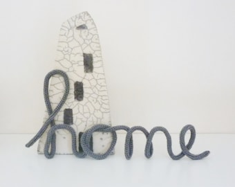 Wire word Home crochet letters typography