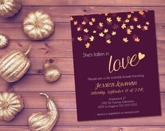Printable fall bridal shower invitation / autumn bridal shower invite / fall in love invite / fallen in love invite / eggplant fall invite