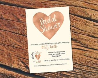 Printable copper bridal shower invitation / rose gold shower invitation / fall bridal shower invite / autumn bridal shower invite