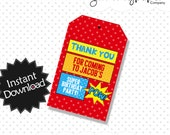 Editable Superhero Party Favor Tags - Instant Download PDF Template - Editable Text .. sp02