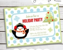 Personalized Printable Penguin Party Invitation - Personalized Printable Invite for Birthdays or Holiday Themed Parties .. wp02