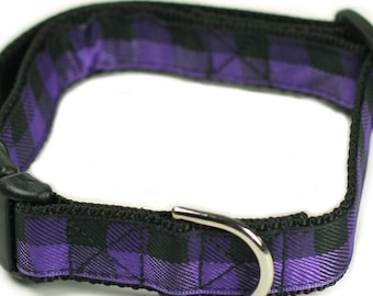 "Ready to Ship - 1"" Dog Collar - 2 sizes available - Purple Plaid"