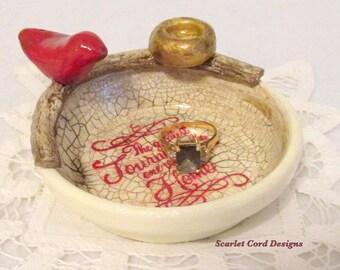 Jewelry Holder, Wedding Ring Bowl, Trinket Dish, Clay Bird Organizer, Empty Nest
