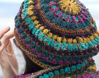 CROCHET PATTERN for Mandala Hat and Cowl Set