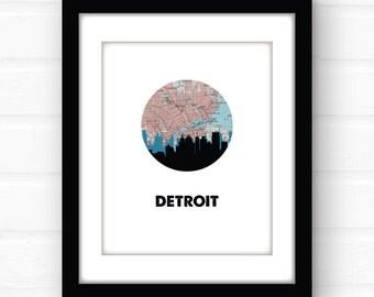 Detroit art | Detroit map print | Detroit skyline art | Detroit, Michigan art | Michigan map print | city skyline art | Michigan wall art