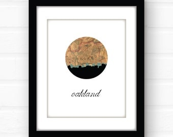 Oakland map art | Oakland, California wall art | California print | travel poster | California art print | city skyline print | Oakland home