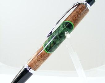 Green Dyed Buckeye Burl and Walnut Click Pen