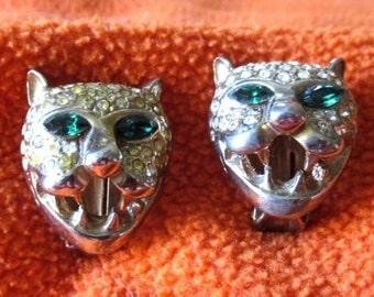 Spooky clip-on Cat earrings leopard jaguar green eyes gold tone rhinestones metal Vintage clip earring Halloween jungle animal party