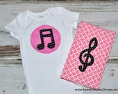 Music Note Baby Onesie - Music Note Onesie G Clef Burp Cloth - Music Baby Onesie Music Burp Cloth Band Baby